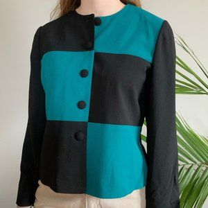 Leslie Fay black and turquoise colorblock jacket